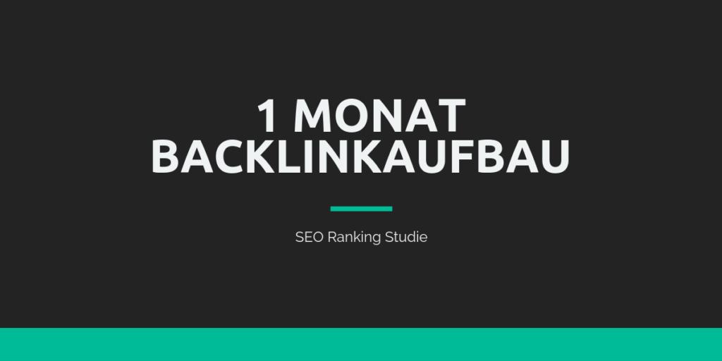 1 Monat Backlinkaufbau - SEO Strategie